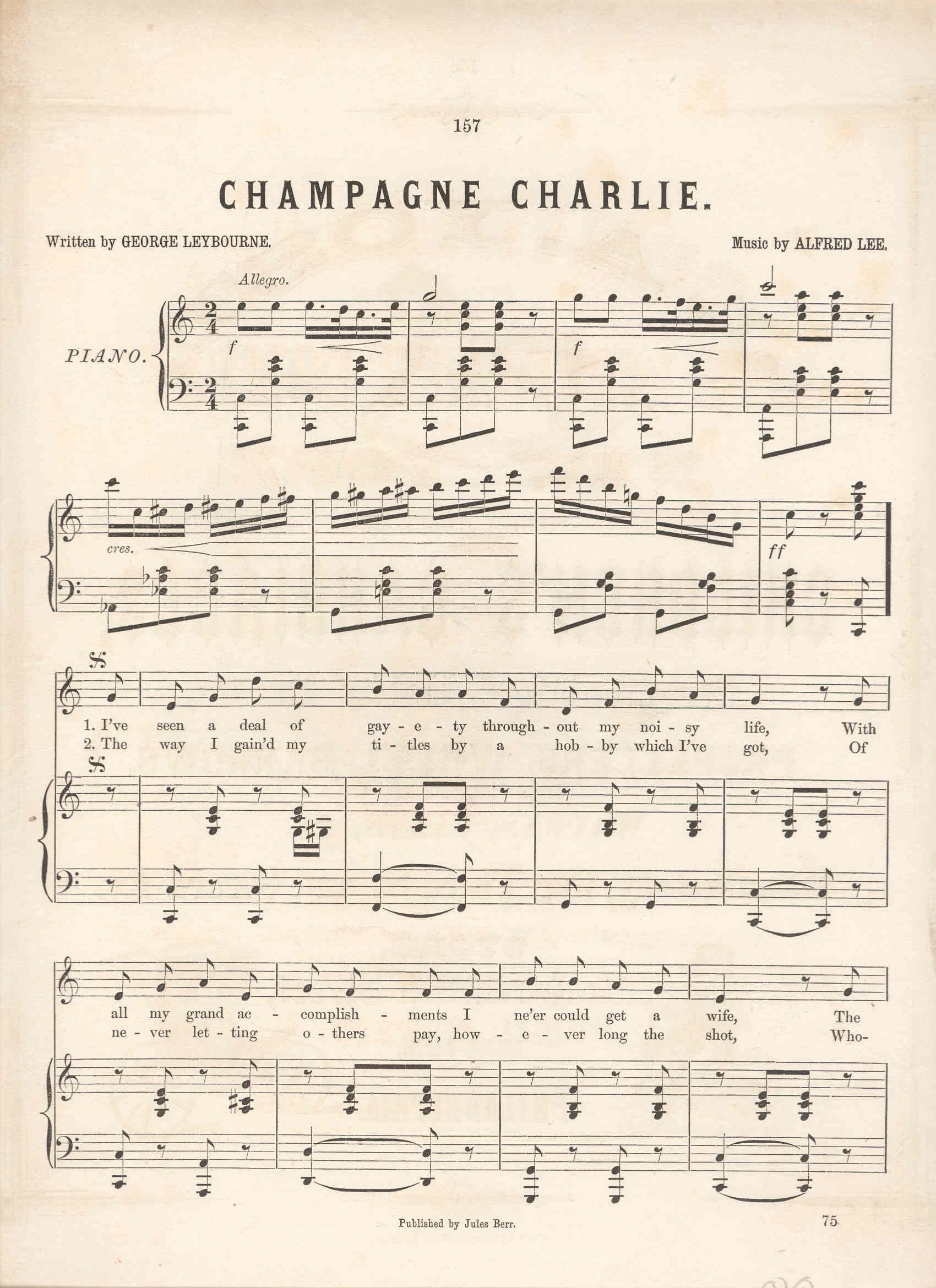 Champagne Charlie, Cover