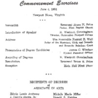 1.8 A-1 Program of Commencement Exercises, June 4, 1964