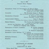 1.8 A-1 Program of Commencement Exercises, June 7, 1968