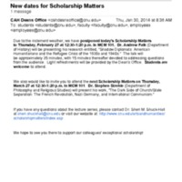 3.51 C New dates for Scholarship Matters