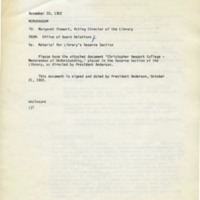 1.4 C-2 Memo to Margaret Stewart, Acting Director of the Library re: Material for Library's Reserve Section