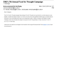 2.46 B-1 CNU's 7th Annual Food for Thought Campaign (2014)
