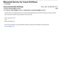 2.21 D-4 Memorial Service for Coach Ed Davis