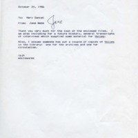 1.8 D-1 Memo to Mary Daniel from Jane Webb, October 20, 1986