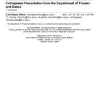 3.38 C Colloquium Presentation from the Department of Theater and Dance