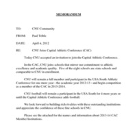 2.3 R CNU Joins Capital Athletic Conference (CAC)