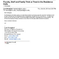 2.25 C Faculty, Staff and Family Trick or Treat in the Residence Halls