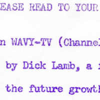 2.23 B-1 Please Read To Your Classes: Cunningham on WAVY-TV
