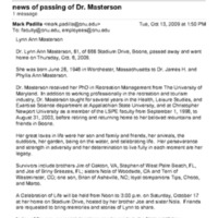 4.11 news of passing of Dr. Masterson