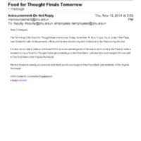 2.46 B-1 Food for Thought Finale Tomorrow (2014)