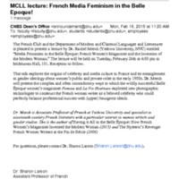 3.30 C MCLL lecture: French Media Feminism in the Belle Epoque!