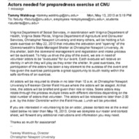 2.7 D Actors needed for preparedness exercise at CNU