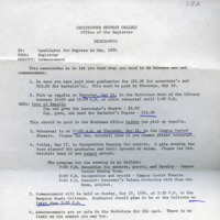 1.8 A Memo To: Candidates for Degrees in May 1973, From: Registrar, Subject: Commencement