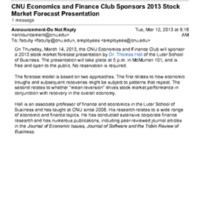 5.3 ZZZZZU CNU Economics and Finance Club Sponsors 2013 Stock Market Forecast Presentation