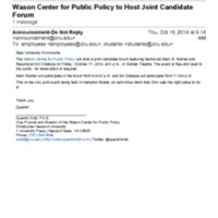 2.50 A Wason Center for Public Policy to Host Joint Candidate Forum