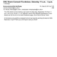 2.3 U CNU Storm Carwash Fundraiser, Saturday 11 a.m. - 3 p.m.
