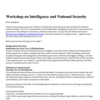 2.49 A  Workshop on Intelligence and National Security