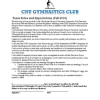 5.3 ZZW Team Rules and Expectations (Fall 2014)  and CNU Gymnastics Club Constitution