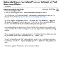 3.19 D Nationally Known Journalism Professor to Speak on First Amendment Rights