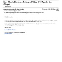 2.46 B-4 Myo Myint, Burmese Refugee Friday 4/19 7pm in the Chapel<br />
