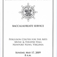 1.8 A-6 Baccalaureate Service, May 17, 2009