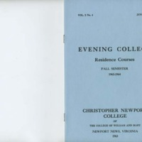 2.1 A Evening College Residence Course Catalog, Fall Semester 1963-1964