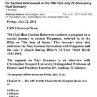 3.23 D Dr. Santoro interviewed on the 700 Club July 22 discussing Nazi Germany