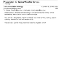 2.34 B Preparation for Spring Worship Service