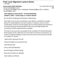 3.54 B Luter Signature Lecture Series - Personal Marketing