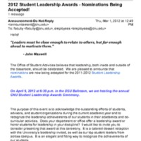 2.33 D 2012 Student Leadership Awards - Nominations Being Accepted!