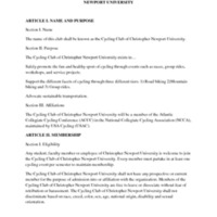 5.3 ZZM Constitution and Bylaws of the Cycling Club of Christopher Newport University