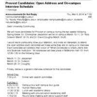 2.27 D Provost Candidates: Open Address and On-campus Interview Schedule