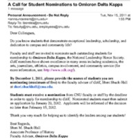 5.2 ZA A Call for Student Nominations to Omicron Delta Kappa