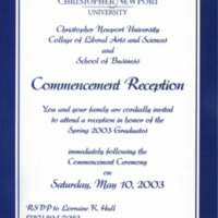 1.8 A-5 Commencement Reception, May 10, 2003