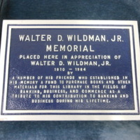 1.12 E Walter D. Wildman, Jr. Plaque