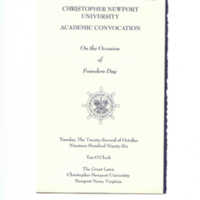 1.8 B Academic Convocation, Founders Day, October 22, 1996