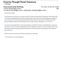 2.46 B-1 Food for Thought Finale Tomorrow (2013)