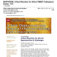 3.24 A-1 A New Direction for Africa? BB&T Colloquium Series, 11/3