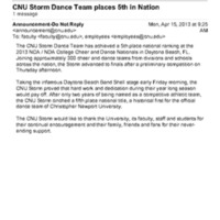 2.3 U CNU Storm Dance Team places 5th in Nation