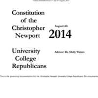 5.3 ZB Constitution of the Christopher Newport University College Republicans (2014)