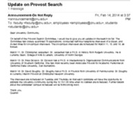 2.27 D Update on Provost Search