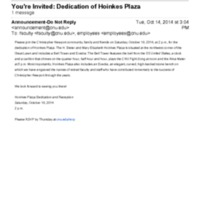 2.5 D You're Invited: Dedication of Hoinkes Plaza