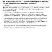 1.9 ZE An invitation from Fear 2 Freedom and the National Center for the Prevention of Community Violence