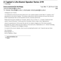 5.1 C-8 A Captain's Life-Alumni Speaker Series - Jeremy Hanes