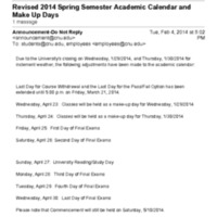 2.24 B Revised 2014 Spring Semester Academic Calendar and Make Up Days