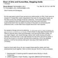 3.51 B-1 Dean of Arts and Humanities, Stepping Aside