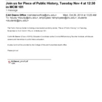 """2.53 A Join us for """"Piece of Public History"""" (McGeever)"""