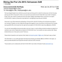 5.3 ZK Dining Out For Life 2013: Schooners Grill