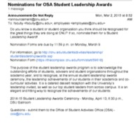 2.33 D Nominations for OSA Student Leadership Awards (2015)