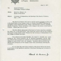 1.2 Memo to the Board of Visitors RE - Ceremony of Independence and Meeting of the Board of Visitors, July 1, 1977
